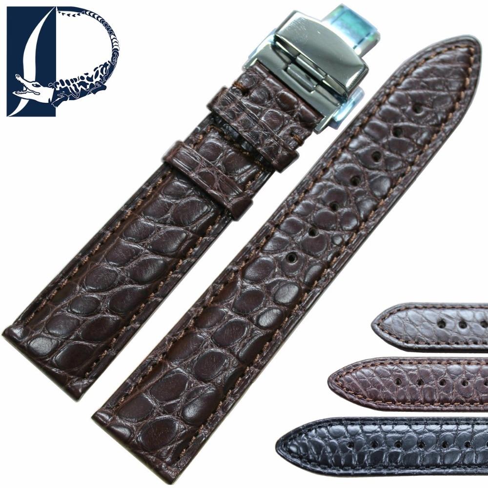 цена на Pesno Beauty Texture Black Dark Brown Crocodile Leather Alligator Skin Watchband with Butterfly Style Buckle