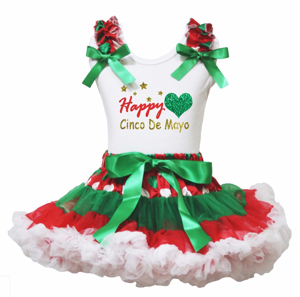 White Cotton Shirt Red Green Polka Dots Skirt Girl Outfit Set Cinco De Mayo Dress Cactus Costume 1-8y LKPO0001