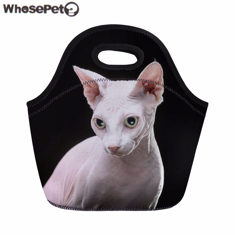 WHOSEPET Women Lunch Bag Sphynx Canadian Hairless Cat Print Thermal Bag Kids Girls Picnic Bag Fashion Food Storage Bolsa Sacola