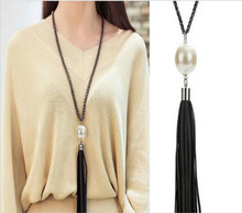 South Koreas contracted joker tassel ms long sweater chain red pearl necklace