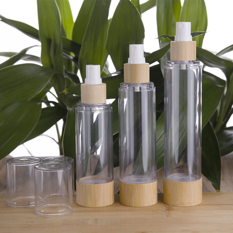 20/30/50/80/100/<font><b>120ml</b></font> Bamboo <font><b>Spray</b></font> Pump Vacuum <font><b>Bottle</b></font> Travel Set Wooden Cosmetics Perfume Essence Pump Packing Containers 10pcs image