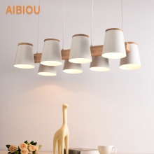 AIBIOU Nordic LED Pendant Lights For Dining Wooden Pendant Lamp E27 Bar Light Kitchen Indoor Hanging Lighting Fixtures nordic retro pendant lights for dining kitchen lampadario vintage metal hanging lamp indoor luminaria light fixtures