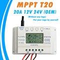OEM Display LCD 20A 12 V/24 V MPPT Solar Battery Painel Regulador Controlador de Carga sem Qualquer Logotipo Em superfície T20 LCD Atacado