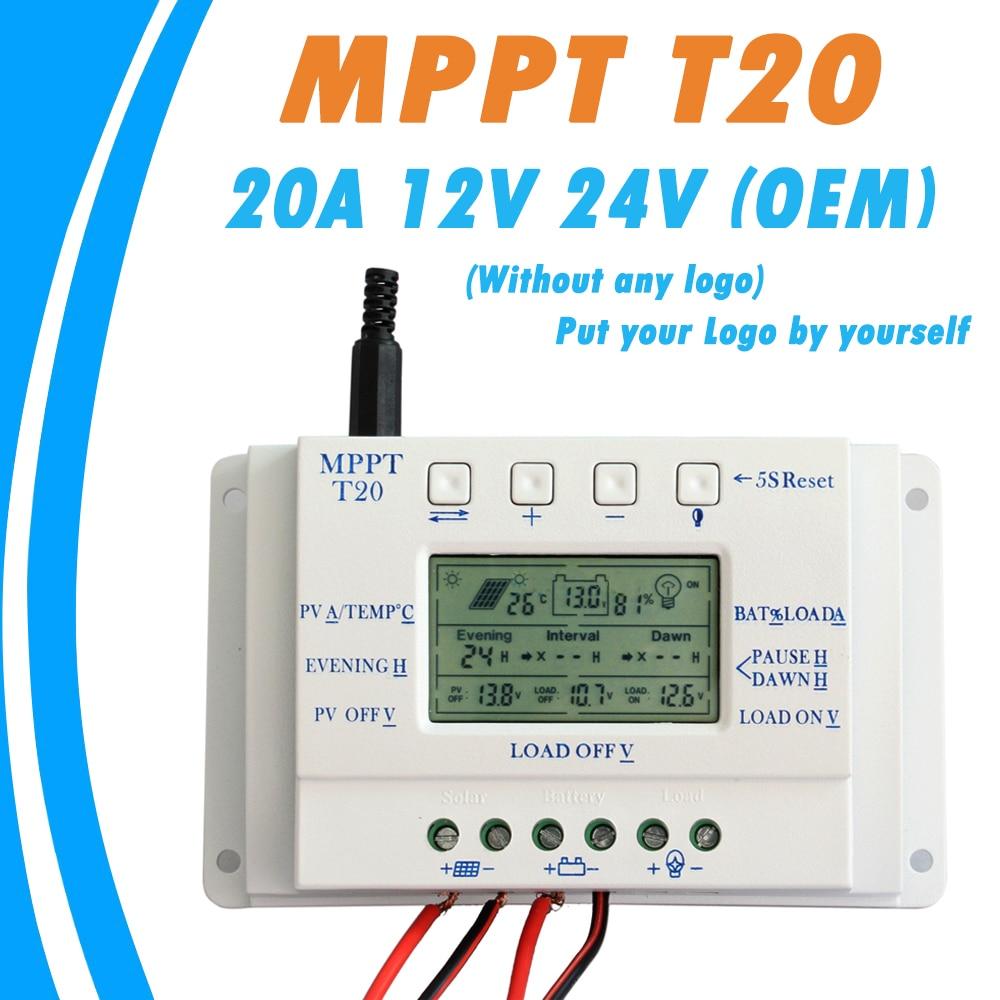 Oem display lcd 20a mppt 12 v/24 v painel solar regulador de bateria controlador carga sem qualquer logotipo na superfície t20 lcd atacado