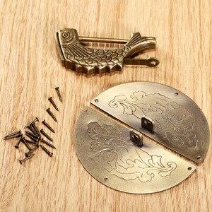 Винтажный деревянный замок, 1 шт., винтажный деревянный замок из античной бронзы + ручка для мебели, аксессуары для мебели в стиле ретро