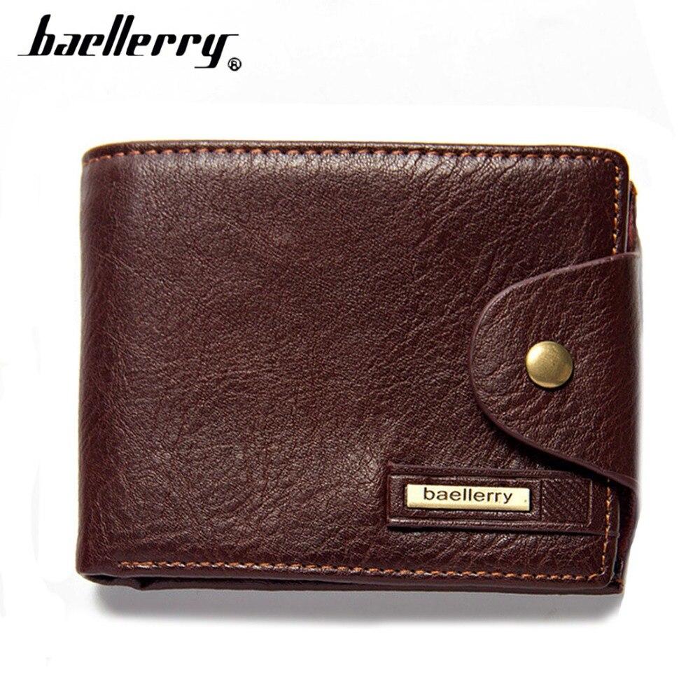 2019 baellerry PU Leather Men Wallets Short Desigh Brown Card Holder High Quality Male Purse Vintage Coin