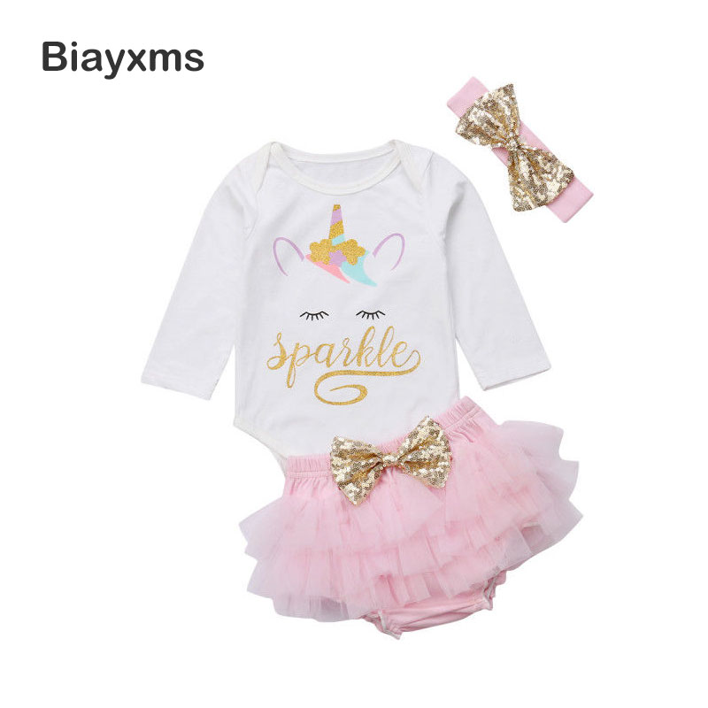 Newborn Infant Baby Girl Clothes Set 1st Birthday Baby Girl Clothing  Cartoon Unicorn Romper Jumpsuit + Tulle Skirts Outfits DNOV-in Clothing Sets  from ... f7d06d739d60