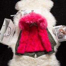 Зимнее пальто с натуральным кроличьим Мех Мужские парки Дети мех енота верхняя одежда Пальто и пуховики Обувь для мальчиков Обувь для девочек кролик Мех съемная подкладка куртки