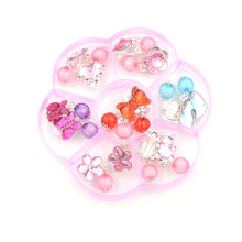 on Earrings Kids Ear Clip Cute Jewelry 7pairs Mix in Box Plastic Gifts No Pierced Party