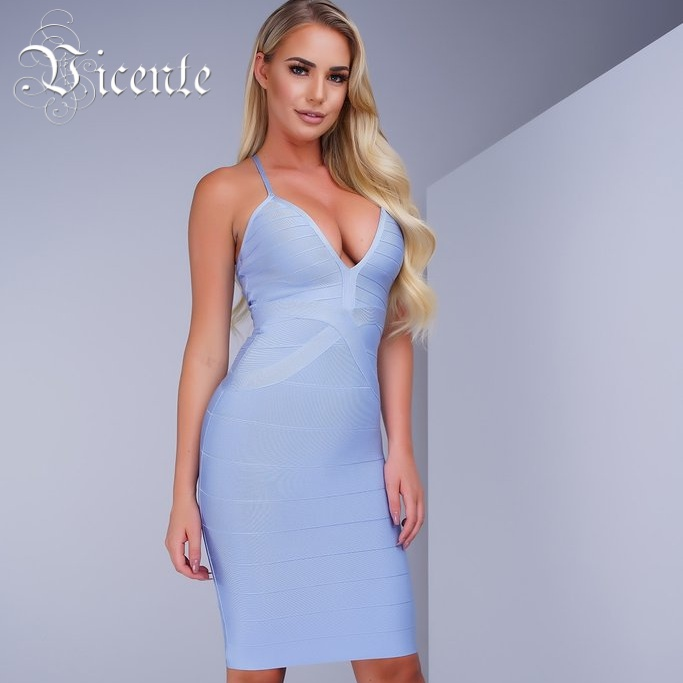 Free Shipping! New Color Ice Blue Hot Sexy Fashion Deep Vneck Knee Length Celebrity Bodycon Party Bandage Dress