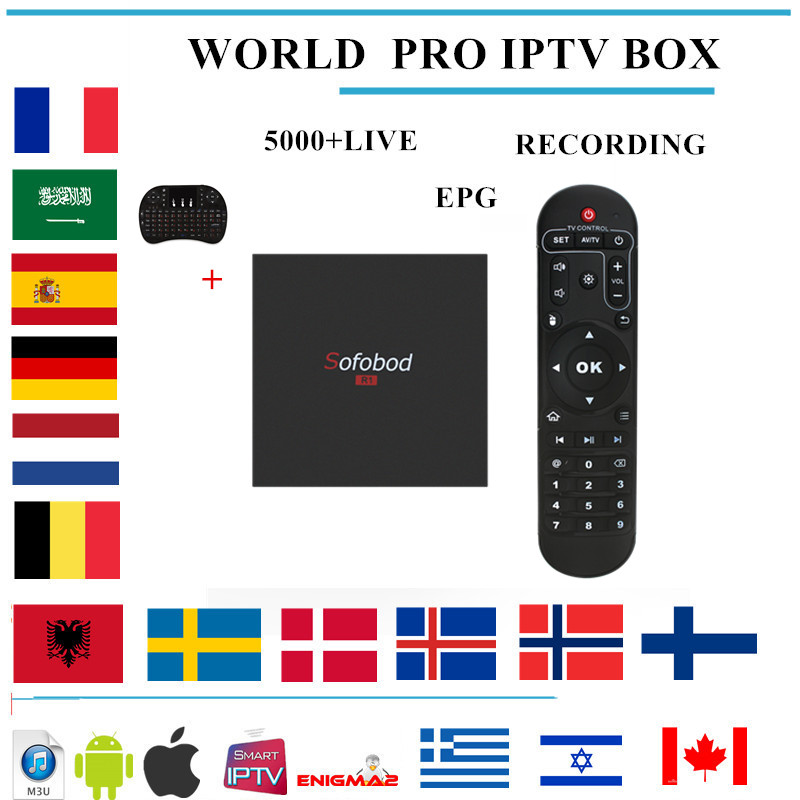 sofobod android tv box 7.1 +IPTV subscription Nordic italia france Europe Netherland portugal arabic spain m3u IPTV smart tv box