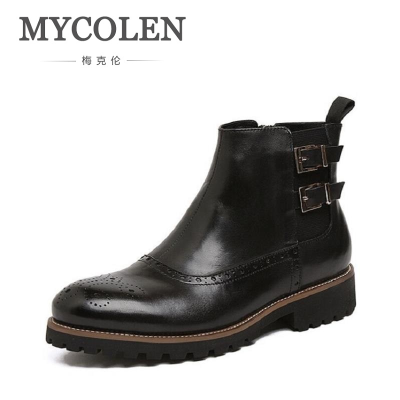 MYCOLEN Men Shoes Fashion Buckle Soft Leather Autumn Boots Carved Men  Shoes Men Comfortable Ankle Boots Botas De InviernoMYCOLEN Men Shoes Fashion Buckle Soft Leather Autumn Boots Carved Men  Shoes Men Comfortable Ankle Boots Botas De Invierno