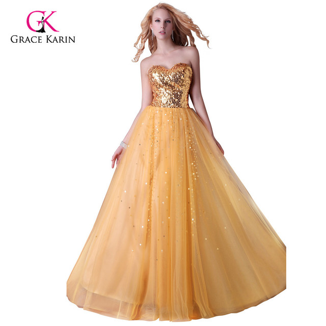 Grace Karin Strapless Gold/Black/Blue Sequins Party Dress Long Formal Evening Gowns Sweetheart Prom Dress CL3459