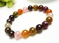 free shipping Natural Colorful Tourmaline Crystal Beads Healing Bracelet AAA 10 mm