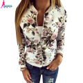 Goodbuy 2016 New Arrival Women Jacket Printed Floral Women Outwear New Autumn Coat Chaquetas Mujer Zipper Casual Lady Coat Femme