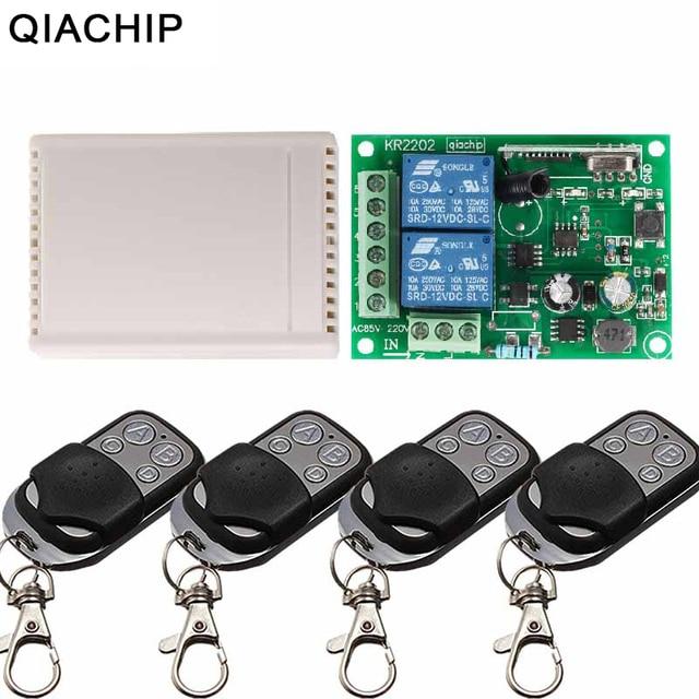 QIACHIP 433 Mhz Interruttore di Telecomando Senza Fili AC 85V 110V 220V 2CH Relè Modulo Ricevitore e RF 433 Mhz 4 button Telecomandi E Controlli Da Remoto