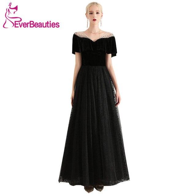 Abendkleider Black Evening Dress Long 2019 Robe De Soiree Tulle with Velour  Elegant Vestido De Festa Prom Party Dresses Abiye 01a8b316214b