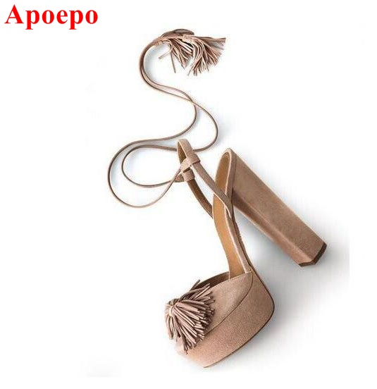 Hot Selling Brown Fringe Ankle Lace-up Pumps for Women Round Toe High Platform Thick Heel Tassel Sandal Cut-out Sexy Dress Shoes hot selling beige black suede fringed platform sandal thick heel summer ankle strap women sandals peep toe cut out dress shoes