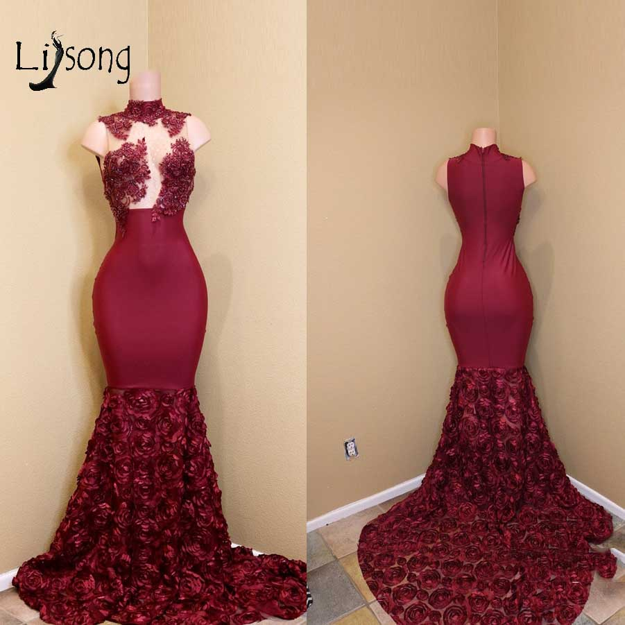 Sexy Red Long 3D Rose Flower Mermaid   Prom     Dresses   2018 Appliques Lace   Prom   Gowns High Collar Formal Party   Dress   Abendkleider