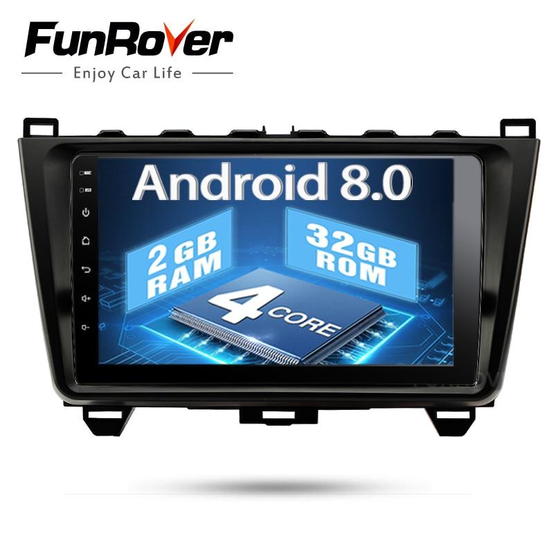 Funrover Android 8,0 2 din автомобильный dvd gps для Mazda 6 мазда 6 2008 2009 2010 2011 15 Авторадио Мультимедиа Стерео navi Радио рекордер