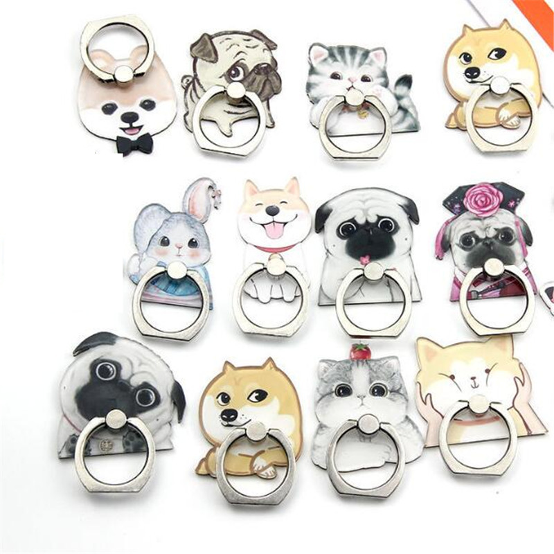 Lovely Bulldog Husky Persian Cat Mobile Phone Stand Holder Finger Ring Smartphone Holder Stand For Xiaomi Huawei All Phone