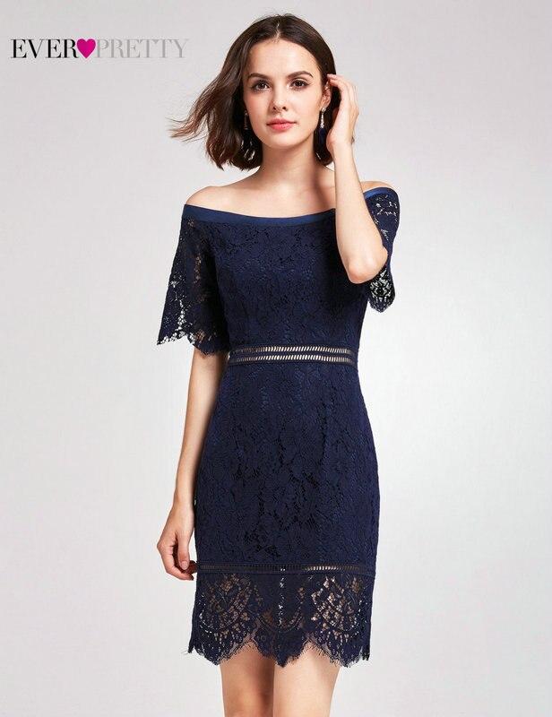 Новое Поступление Коктейльные платья Ever Pretty AS05921NB женские Дешевые трапециевидные кружевные платья с коротким рукавом и вырезами размера плюс Скромные Вечерние платья - Цвет: AS05921NB