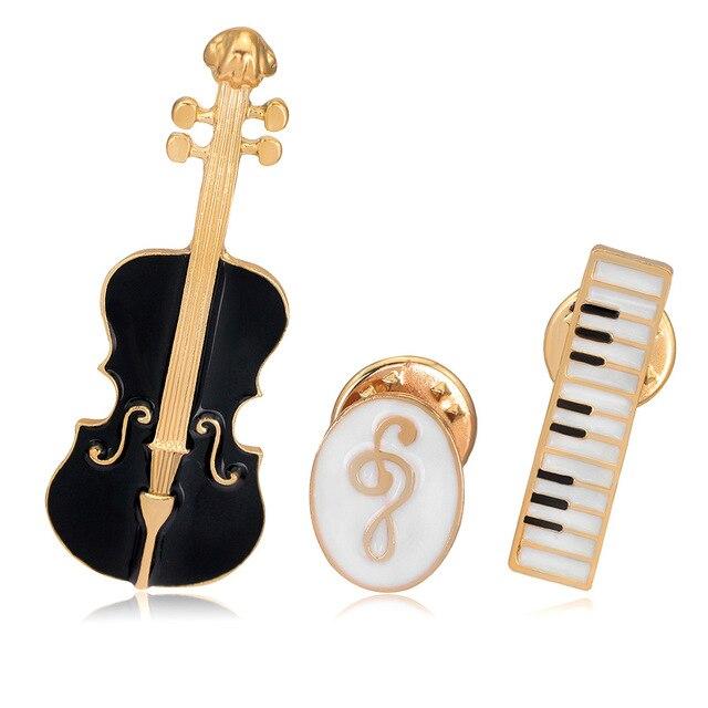 Jovem Tulipa 2018 New Violino de Piano Órgão Pinos Broche de Esmalte Moda Jóias para As Mulheres Terno Acessórios Bom Presente de Alta Qualidade
