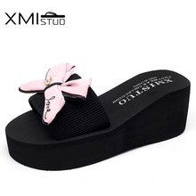 XMISTUO Summer Women's Wedges Sandals Slippers with Bow Slides Outside 7.2cm High Heels Beach Female Slippers 4 Color 7140W xmistuo asual slopes with cool slippers ladiesnoble atmosphere on the grade high heeled shiny diamond slippers simple sandals