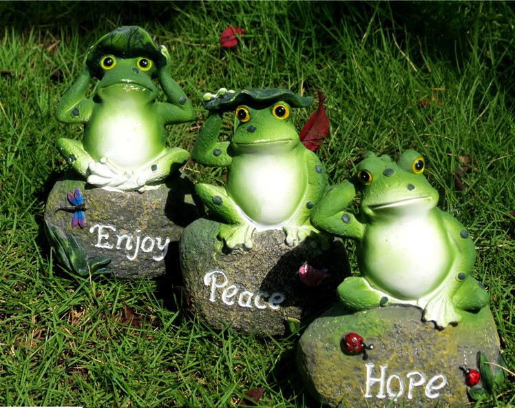 3pcs Frog Sitting Stone Resin Crafts Miniature Garden Decoration Green  Animal Statue Outdoor Home Decor High Quality In Figurines U0026 Miniatures  From Home ...