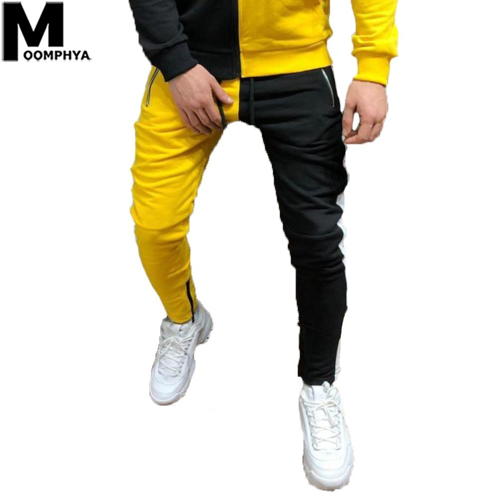 Moomphya 2019 New Side Stripes Patchwork Color Block Joggers Pants Men Streetwear Hip Hop Sweatpants Skinny Trousers Men Pants(China)