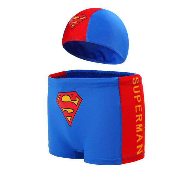 Kid Superman Cartoon Swimming trunks Cap , Boys Girls Swimwear Suit , Child Ocean Animal Swim Shorts + Bathing Hat Plus Size 3XL