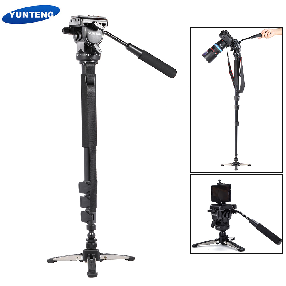 YUNTENG VCT-588 Extendable Telescoping Monopod with Detachable Tripod Stand Base Fluid Drag Head for DSLR Camera Camcorder ashanks a750c carbon fiber extendable handheld monopod with fluid head for video dslr camcorder camera better than jy0506
