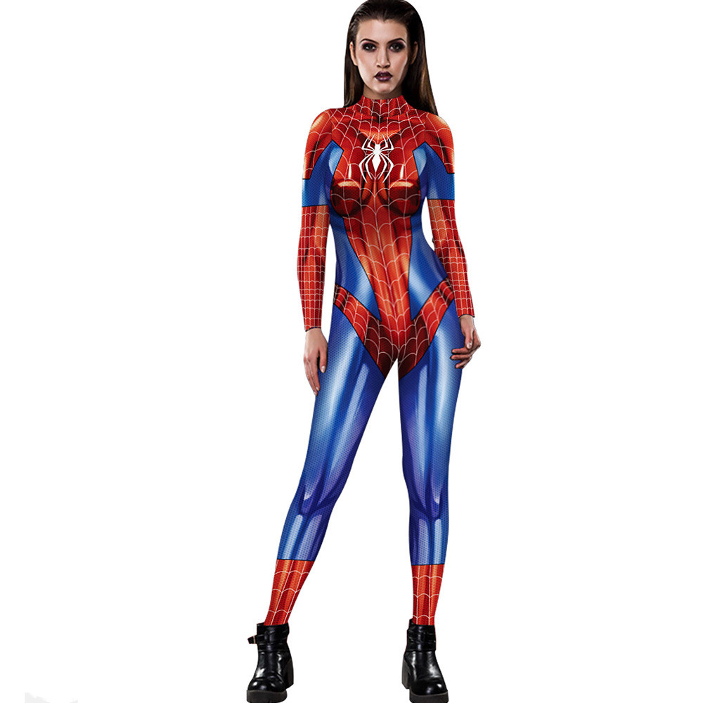 3D digital printing female ladies tight high collar long sleeve jumpsuit autumn new personality casual sexy jumpsuit