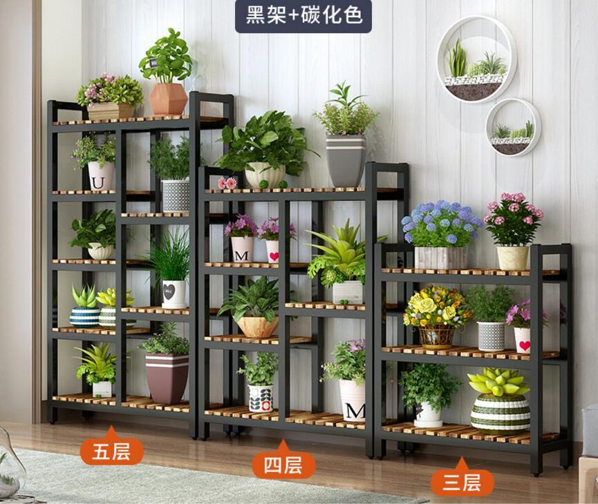 Flower rack Solid wood Tieyi Flower Shop display rack indoor multi storey floor balcony flower rack in Storage Holders Racks from Home Garden