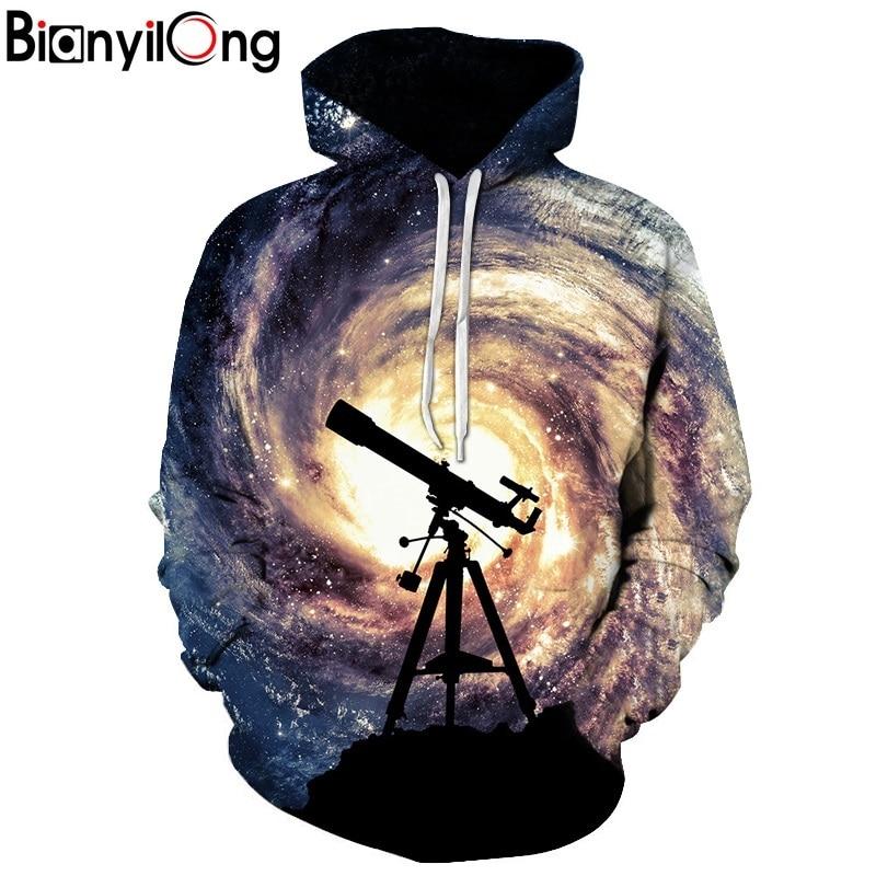 BIANYILONG New Fashion Men/Women 3d Sweatshirts Print Telescope whirlpool Hoodies Autumn Winter Thin Hooded Pullovers Tops