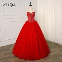 ADLN Новое поступление Quinceanera платье 2019 Красный Кристалл сверкающий Тюль сладкий 16 платья для женщин Бальные платья цвет на заказ