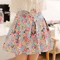 Moda de verano de impresión floral faldas plisadas mujeres sweet brote flor short Mini falda de talle alto delgado casual one size 5 color