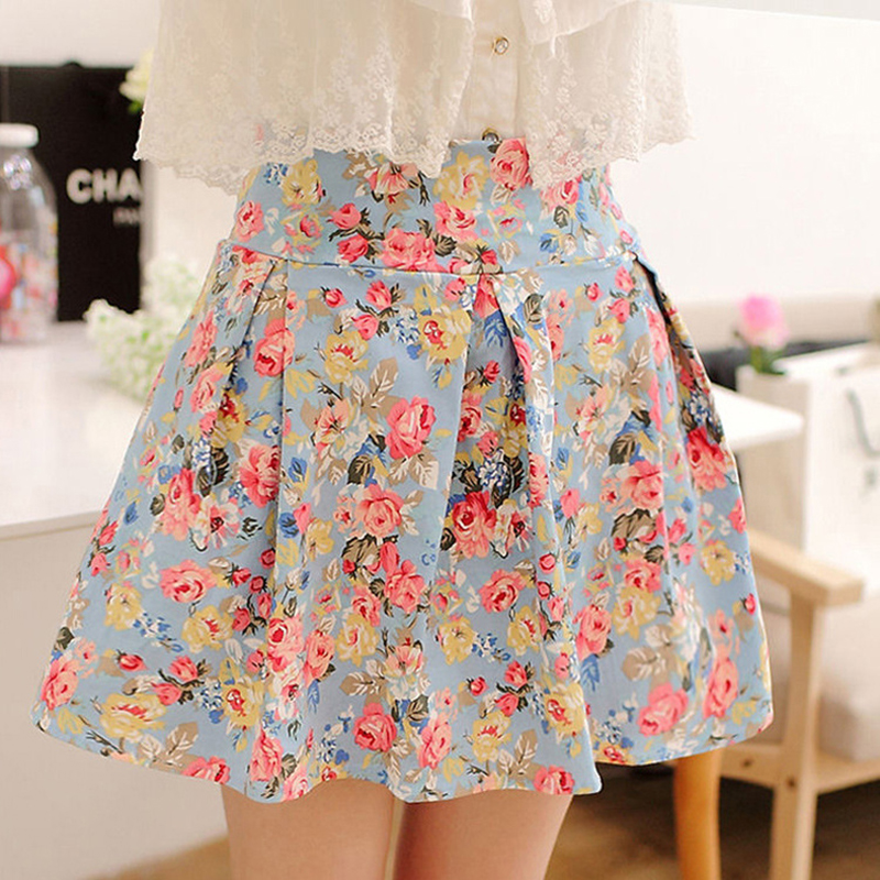 floral high waisted skirt summer sweet above knee empire floral skirts sweet flower 5043