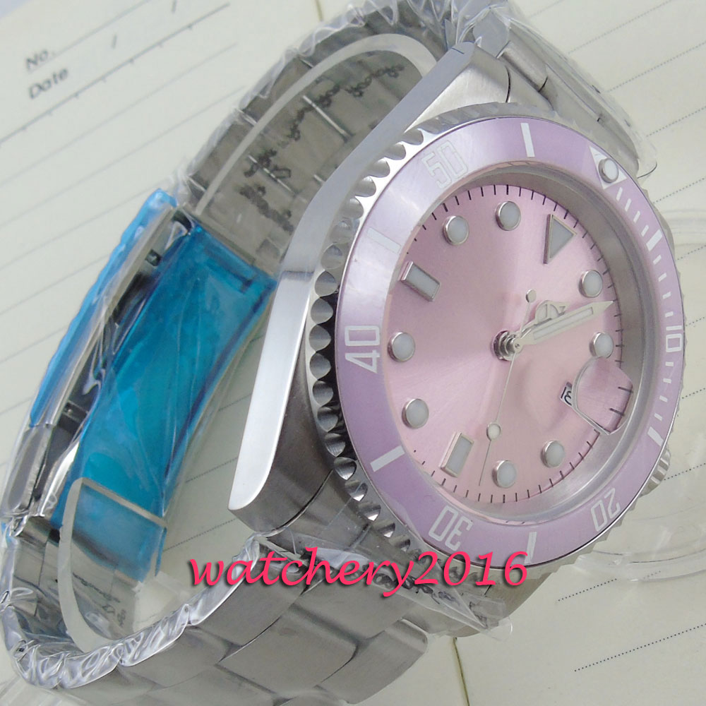 40mm parnis Pink dial luminous ceramic bezel sapphire glass mens watches military army Automatic Mechanical Mens Wristwatches