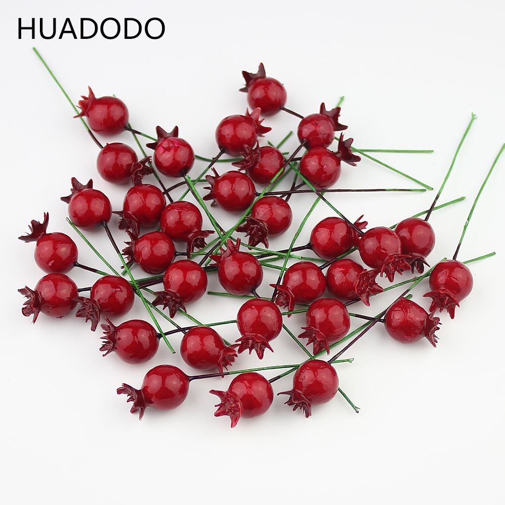 Huadodo 20pieces mini artificial pomegranate fruit berry for Artificial pomegranate decoration