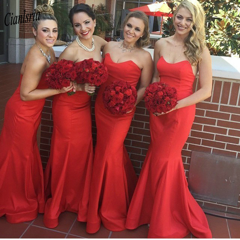 Red Simple Satin Long Mermaid   Bridesmaid     Dresses   Sweetheart Sleeveless Wedding Guest   Dress   For Wedding Party robe demoiselle