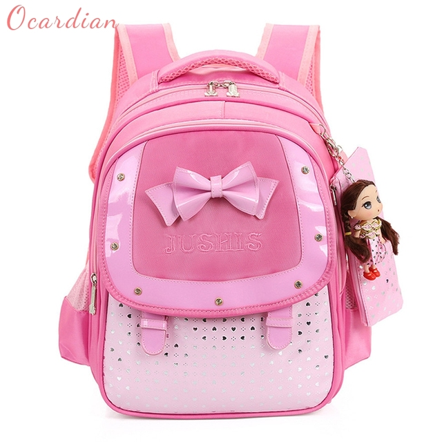 OCARDIAN mochila Baby Girls Kids Bowknot Heart Dot Backpack Toddler School  Bag 3Pcs Set Made in 8430019e98bc9