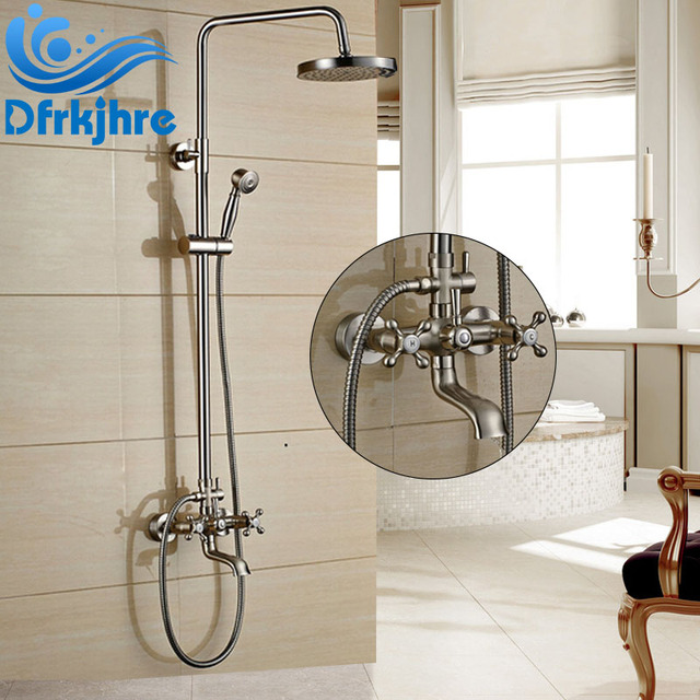 Brushed Nickel Bath Shower Faucet Set Tub Mixer Tap 8 Inch Rain