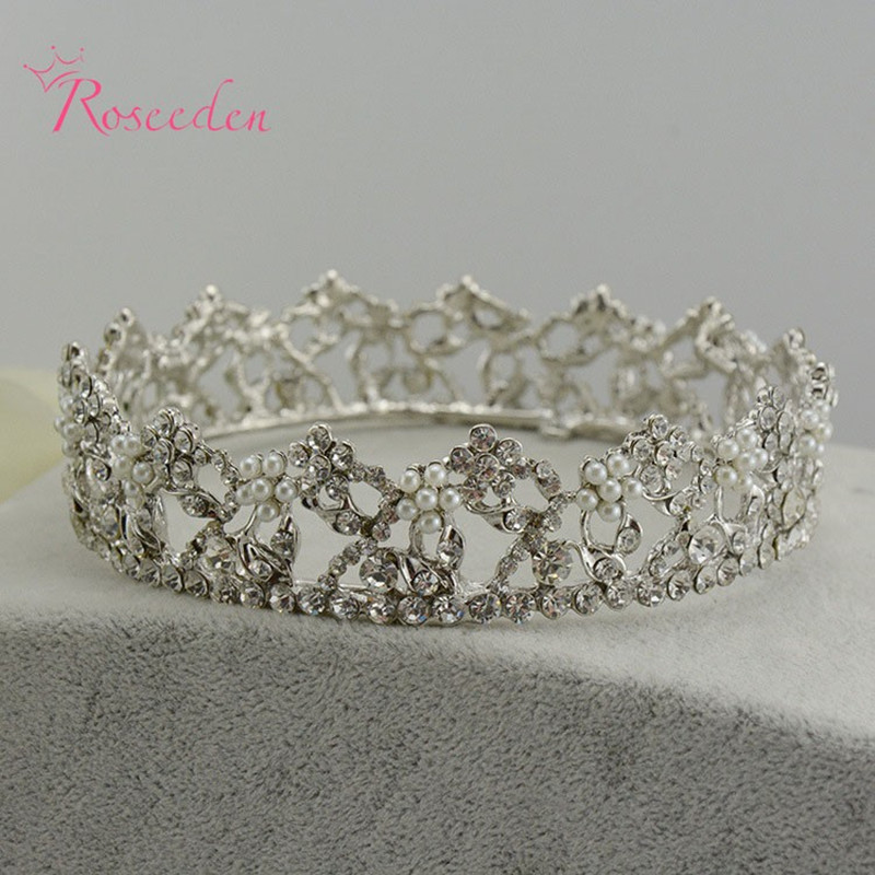 Wonderful Time Design Women Round Shap Crown Headband Hairpin Silver Plated Hair Wedding Accessories Alloy Crown/Tiara RE165