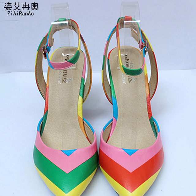 Summer Style Women Shoes Sexy Rainbow Shoes Woman Pointed Toe Sandals Party  Women Pumps Big Size 34-41 Hollow 7.5 CM High Heels 017ad935b