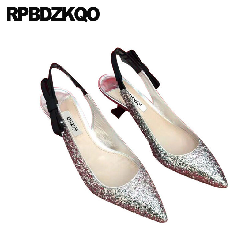 Wedding Glitter Bride Gold Bridal Shoes Evening Silver Summer Pointed Toe  Medium Heels Women Kitten Sandals Slingback Size 4 34 d3079f8c8129