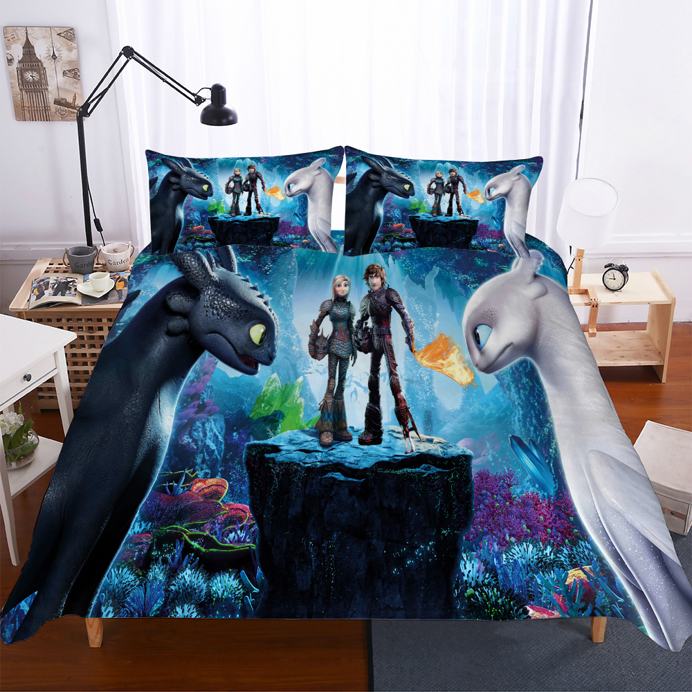 Home Textiles 3D Design Digital Printing Bedding Set Duvet Cover Pillowcase Bedclothes Dropshipping How To Train Your Dragon