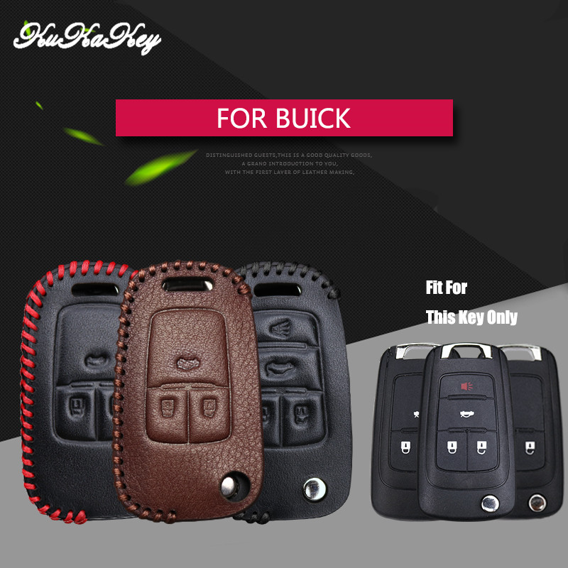 KUKAKEY Genuine Leather Flip Folding Car Key Case Cover Bag For Buick Excelle XT Regal GS Encore Lacrosse Verano 4S Shop Gift