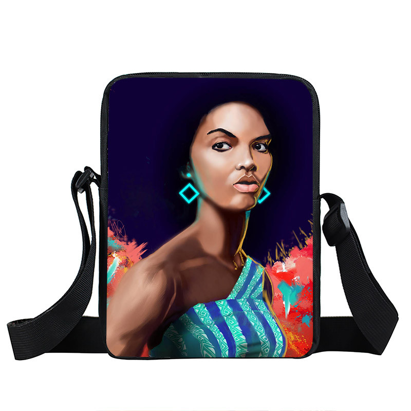 Afro Lady Girl messenger bag Africa Beauty Princess small shoulder bag brown women handbag mini totes teenager crossbody bags 17