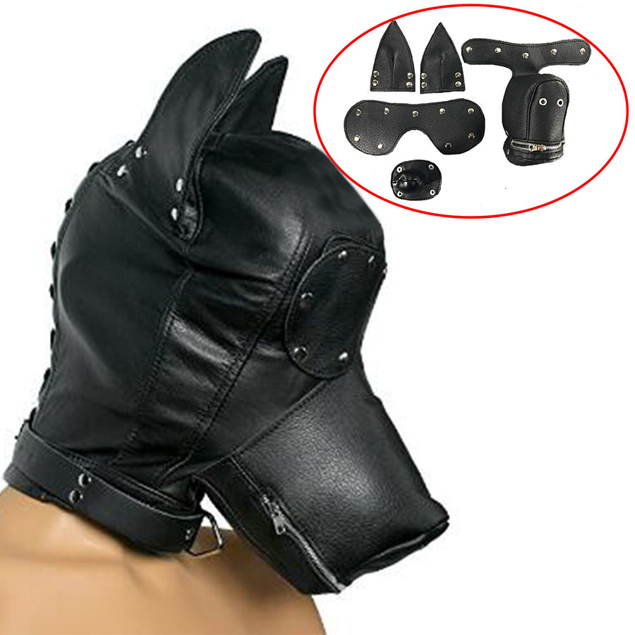 Leather Face Muzzle Hood,Dog Mask With Blindfold And Detachable Gag,Bdsm Bondage Masks Gimp Accessories